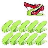 10er set Verstellbarer Schuhstapler Platzsparend Schuhhalter Kunstoff Schuhorganizer für Schrank Grün