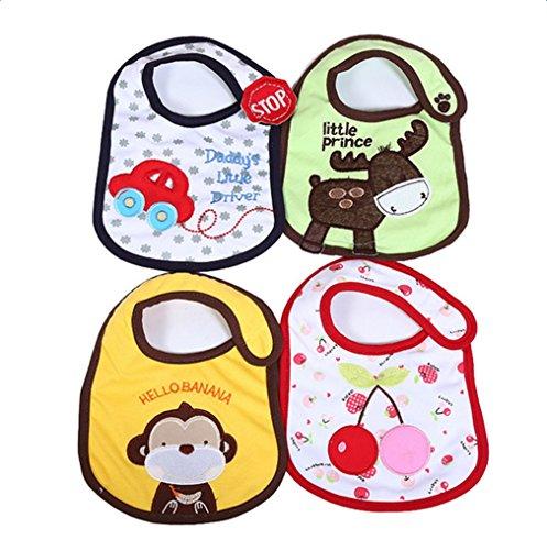 4x Demarkt Mädchen Jungen Babylätzchen Weiches Wasserdicht Lätzchen Neugeborenes Wasserdichtes Baby Lätzchen mit Klettverschluss für Babys zwischen 3-48 Monaten (4 teilige)