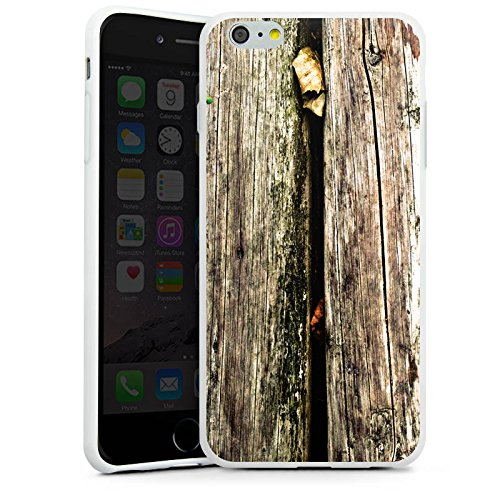 Apple iPhone X Silikon Hülle Case Schutzhülle Planken Moos Holz Look Silikon Case weiß