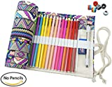 CreooGo Canvas Pencil Wrap, Pencils Roll Case Pouch Hold For 72 Coloured Pencils ( Pencils are not included )-Bohemian,72 Holes