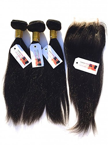 Tissage-extension - LOT 3 TISSAGES + LACE CLOSURE LISSE NOIR - 18 pouces