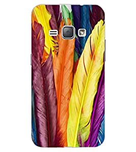 ColourCraft Colourful Feathers Design Back Case Cover for SAMSUNG GALAXY J1 DUOS (2016)