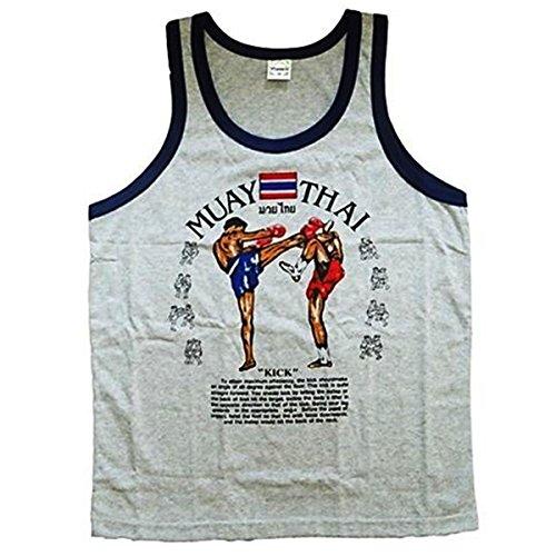 Men's Tank Top Singlet Vest Gym Muay Thai Men T-shirt Cotton 100% Made in Thailand