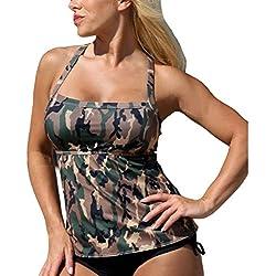 Bañadores para Mujer Verano Traje de Baño de Dos Piezas Camuflaje Bikini Push-up Ropa de Playa/Piscina/Fiesta/Natación