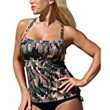 Highdas Damen Tarnung Tankini Große Größen Bikini Set Push Up mit Slip Badeanzug Two Piece XXXXXL