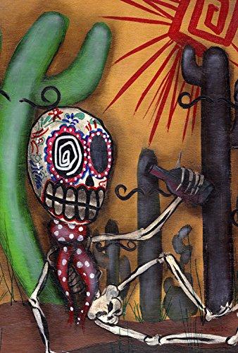 ugar Skull Kactus 28x101,6 cm Dekorative Südwesten Wüste Pop Art Skelett Haus Flagge ()
