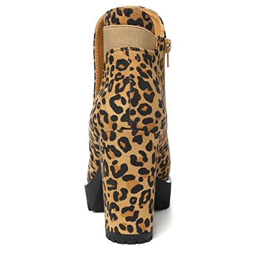 Allegra K Donne grosso tacco alto Platform Zipper Chelsea stivali CI Nero 6 Camel