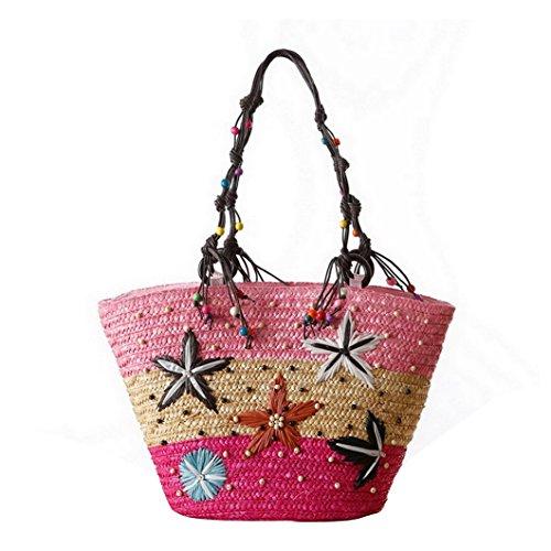 (Evedaily Strohtaschen Damen, Böhmische Stroh Umhängetasche Handtasche mit Reisverschluss Elegante Schultasche Stickerei Seestern Muster (Pink))