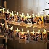 Ndier LED Foto Clips Lichterkette 50 LED Foto Klammern 5 m/16.4 Ft USB Foto Lichterketten für Stimmung Beleuchtung, Weihnachten, Valentinstag, Hochzeit, Party und Haus Deko Warmes Licht