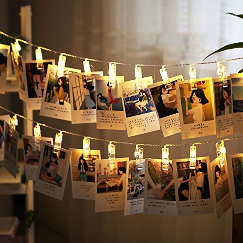 NiceButy Lumière Chaînes Décoration Guirlande Lumineuse 50 Led 5 Mètre pour Décor Mariage Mural Chambre Afficher Photo Pictures Artwork Décor LED pour Les Fêtes