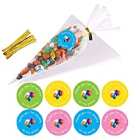VEYLIN 50 Pieces Sweet Cones Party Bags - Clear Cellophane Candy Bags and Ties for Party Gift Wedding Birthday Favors with 60 Pieces Thank You Stickers