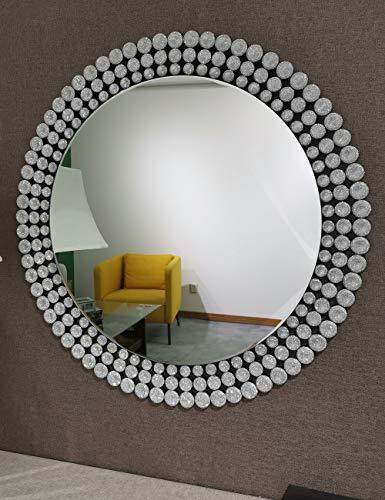 Mission Möbel Muster (KOHROS Wandspiegel, antiker venezianischer Stil, rund, mit Schmucksteinen besetzt, silberfarben)