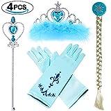 VAMEI Prinzessin Dress up Party Zubehör mit Krone Wand Handschuhe Halskette Ohrringe Ring Tiara Zopf Zauberstab Maske Set (ELSA C)