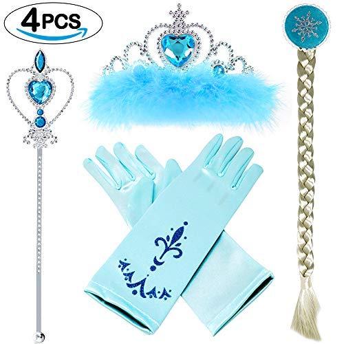 VAMEI Prinzessin Dress up Party Zubehör mit Krone Wand Handschuhe Halskette Ohrringe Ring Tiara Zopf Zauberstab Maske Set (ELSA ()
