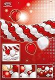 amscan 48365 Dekoset Latexballons, Rot/Weiß