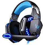 EasySMX Comfortable LED 3.5mm Stereo Gaming LED Lighting Over-Ear Headphone Headset Headband with Mic for PC Computer Game With Noise Canelling & Volume (Blue)