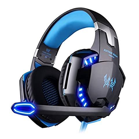 EasySMX Comfortable LED 3.5mm Stereo Gaming LED Lighting Over-Ear Headphone Headset Headband with Mic for PC Computer Game with Noise Cancelling & Volume