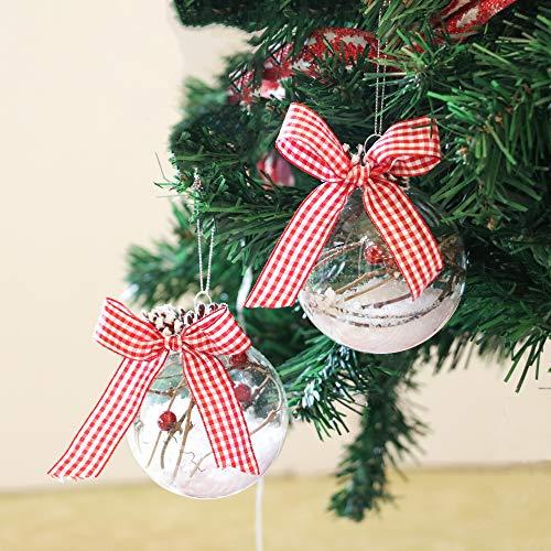 Valery madelyn palline di natale natale baubles 6 pezzi 8cm in vetro trasparente arrotondate con fiocchi di neve foresta di natale con gancio decorazioni per albero di natale decorazioni natalizie