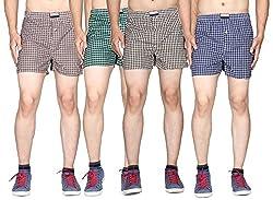 Pack of 4pc Men's Cotton Woven Boxer Shorts