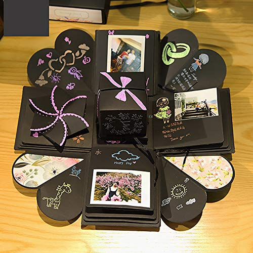 AZX DIY esplosione box creative scrapbook regalo Love memory album fotografico per anniversario matrimonio, San Valentino regalo nero