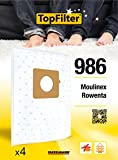 TopFilter 986, 4 sacs aspirateur pour Moulinex et Rowenta,boîte de sacs d'aspiration en non-tissé, 4 sacs à poussière (30 x 26 x 0,1 cm)