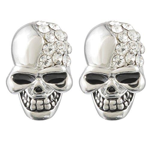 MJARTORIA Damen CZ Kristall Ohrringe Ohrstecker aus Legierung in Totenkopf Herz (Silber) (Silber)