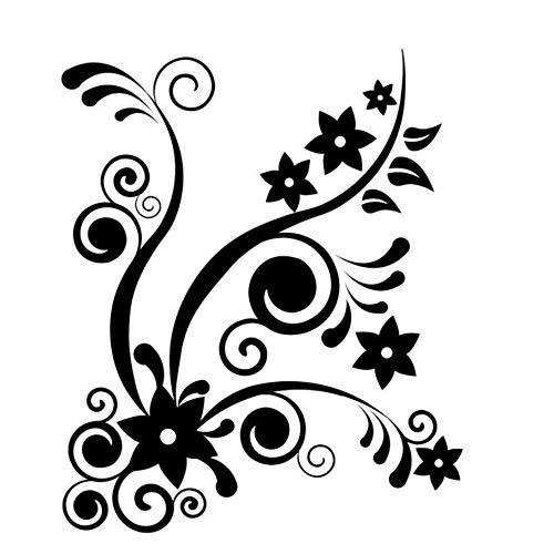 Hwhz 44X53 Cm Diy Orange Swirl Reben Sternform Blume Wandaufkleber Kunst Vinyl Wasserdichte Wohnkultur Für Wohnzimmer