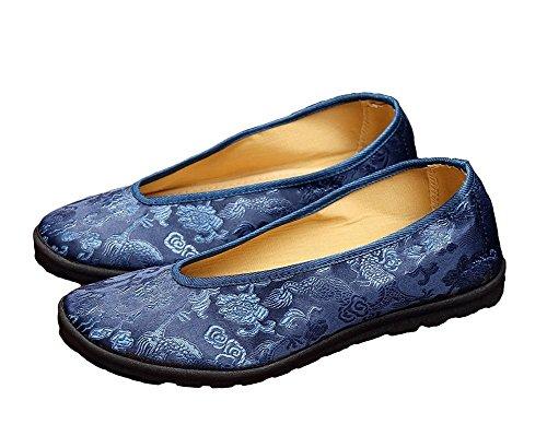 lazutom Vintage stile cinese uomo comodo appartamenti scarpe kungfu taichi Scarpe, EU 40, blu