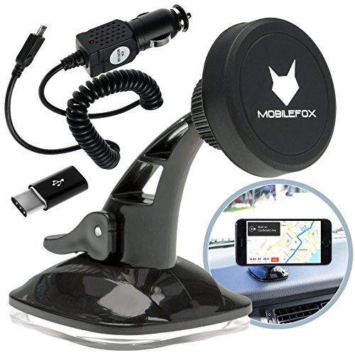 Mobilefox 360° KFZ Magnet Windschutzscheibe Handy Halterung + Micro-USB Ladekabel + C-Typ Adapter 3in1 SET für Huawei P20/Pro/P10/P9/Nova/Plus Schwarz - Saugnapf Armaturenbrett Auto Halter
