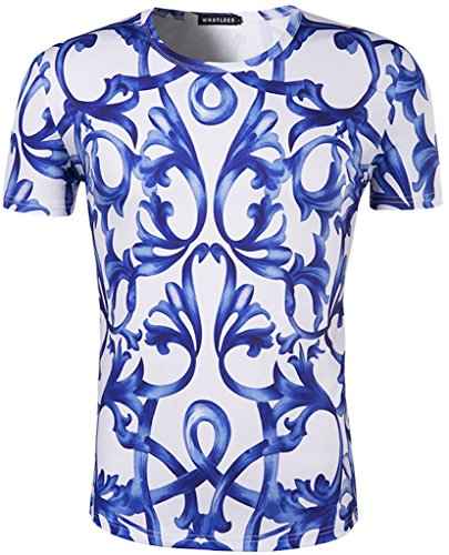 whatlees-unisex-green-flower-porcelain-print-slim-gym-t-shirts-b056-36-l