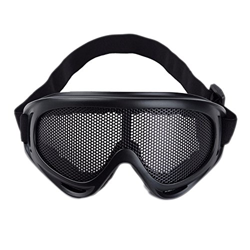 Sijueam® Masque Grillagé Airsoft Lunettes de Tir Anti-buée métal Protection des Yeux pour CS Pistolet Guerre Jeux Bataille Paintball Chasse Cyclisme - Noir