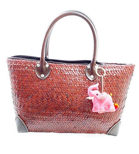 handgeflochtenem Stroh GroßE Hobo Tasche für Frauen, rund Griff Tote Retro Sommer Strand Bag mit süßem Pom Pom handgefertigt Decor