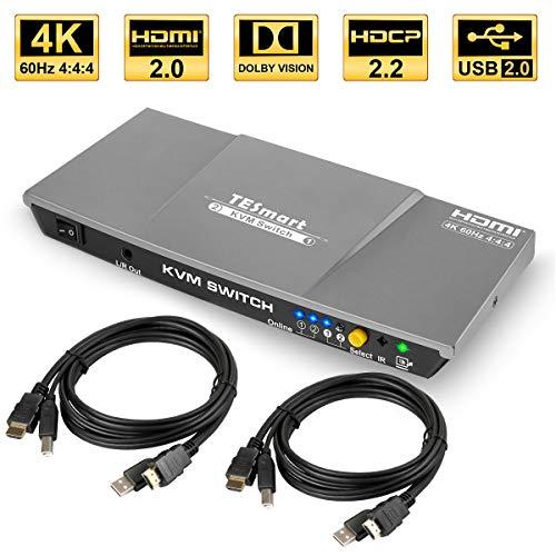 TESmart 2fach HDMI KVM Switch - 4K Ultra HD mit 3840 x 2160 bei 60 Hz 4:4:4; unterstützt USB 2.0 Gerätebedienung bis max. 2 Computer/Server/DVR (Grau)