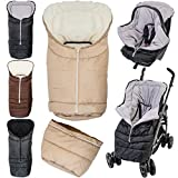 2in1 Winterfußsack (0 bis 36 Monate) für Babyschale/Kinderwagenschale / Kinderwagen/Buggy (Beige/Whitewash)