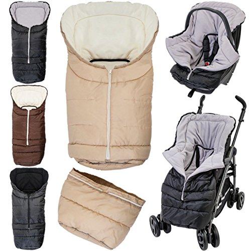 2in1 Winterfußsack (0 bis 36 Monate) für Babyschale/Kinderwagenschale / Kinderwagen/Buggy (Schwarz/Schwarz)