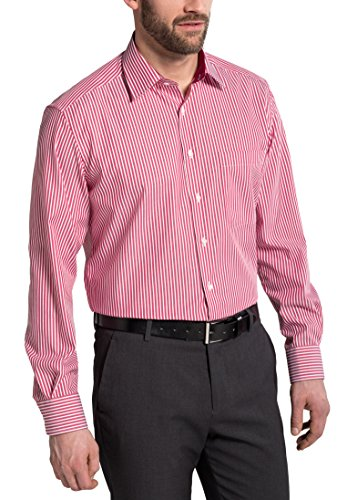 Eterna Long Sleeve Shirt Comfort Fit Textured Weave Striped Rosso/Bianco
