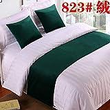 SjyBed Bettläufer Schal Bettwäsche Tuch hochwertige einfarbig Bett schwanzauflage tischfahne bettdecke, 823 dunkelgrüner samt, hud Kissenbezug 45X45 cm