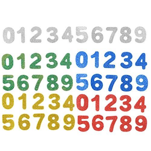 -9 Zahlen Glitzer Sticker Aufkleber Schaumstoff Selbstklebend Türaufkleber für Baby Kinder Wand DIY (Farbe) ()