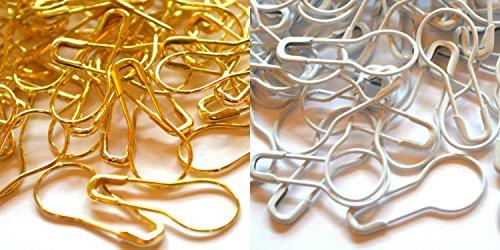 Lialina® Sicherheitsnadeln 21mm Birnenform Gold und Weiß von 20 Stück bis 1000 Stück (50, Gold)