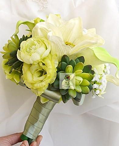 Yxhflo Emulation Blumen Hochzeit Kunst Brautsträuße Grün Weiße Hand Von Uniteds Ministerpräsident Zhu Top Rot