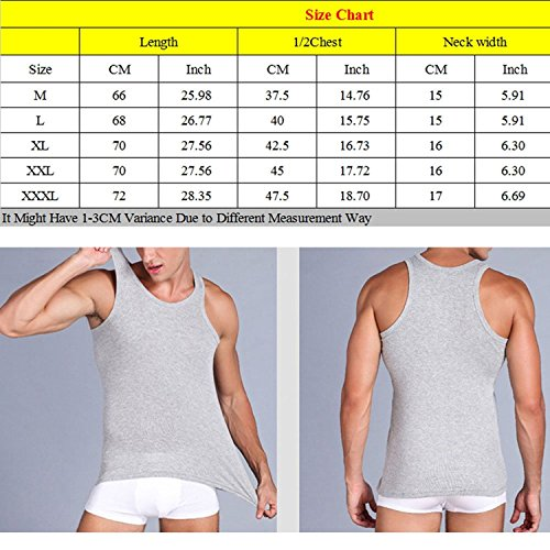 Linyuan Men's cotton elastic tank top fitness slim vest solid color Gray