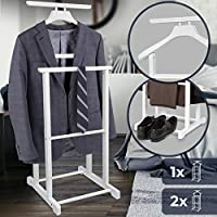 Jago Valet Stand - 49x40x98cm, Pine Wood, White - Suit Hanger, Clothes Stand, Bedroom Valet For Belts, Shoes,Suit