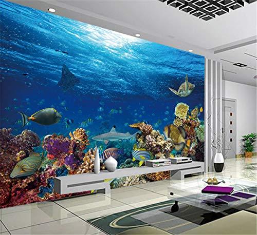 3D Custom Leinwand Wandbild Gefallenes Königreich Poster Mosasaurus Shark Aufkleber Unterwasser Wallpaper Schlafzimmer Aufkleber, 150cmX105cm (Unterwasser-schlafzimmer)