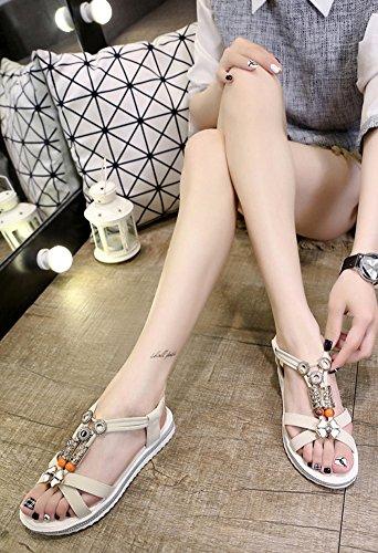 Minetom Damen Sommer Bohemien Süß Strand Sandals Flache Schuhe Offene Zehen Klassische Sommerschuhe Sandalen Beige