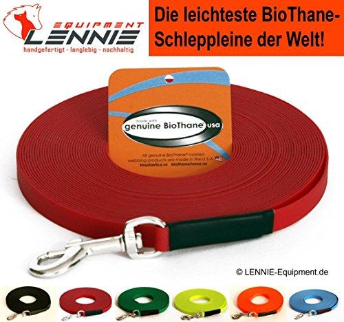 BioThane® Schleppleine für sehr kleine Hunde, 9 mm Ultra Thin (1-30 Meter [10 m], 6 Farben [Rot], GENÄHT, ohne Handschlaufe)