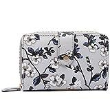 Miss Lulu Women Flower Bird Purse Oilcloth Short Wallet Clutch Hand Bag (1580-16F Grey)