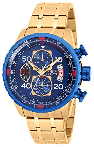 Invicta 19173 Aviator Men's Wrist Watch Stainless Steel Quartz Blue Dial