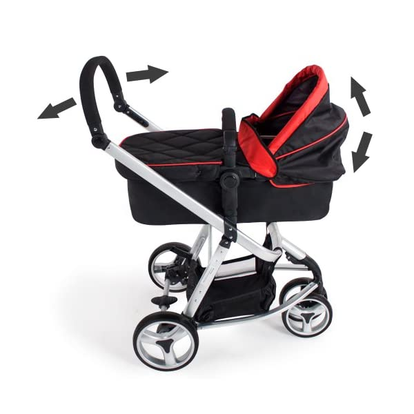 TecTake 3 in 1 Pushchair stroller combi stroller buggy baby jogger travel buggy kid's stroller -different colours- (Red/Black)  Aluminium frame | mosquito net Collapsible to a compact size for space-saving transport 5-point safety harness, Safety bar 5