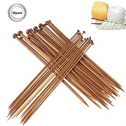 Natuce 36Pcs 18 tamaños Agujas tejer bambú 2.0mm