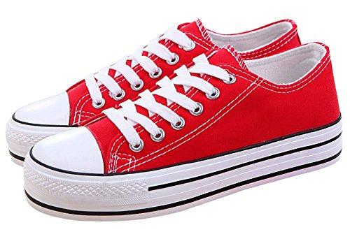 Basse Wealsex Ginnastica Tela Di Rossa Da Scarpe Sneakers Donna aqdTq